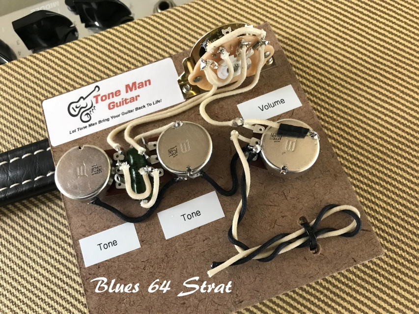 tone man guitar upgrade blues 64 strat prebuilt wiring harness kit rh tonemanguitar com strat wiring harness uk strat wiring harness master tone
