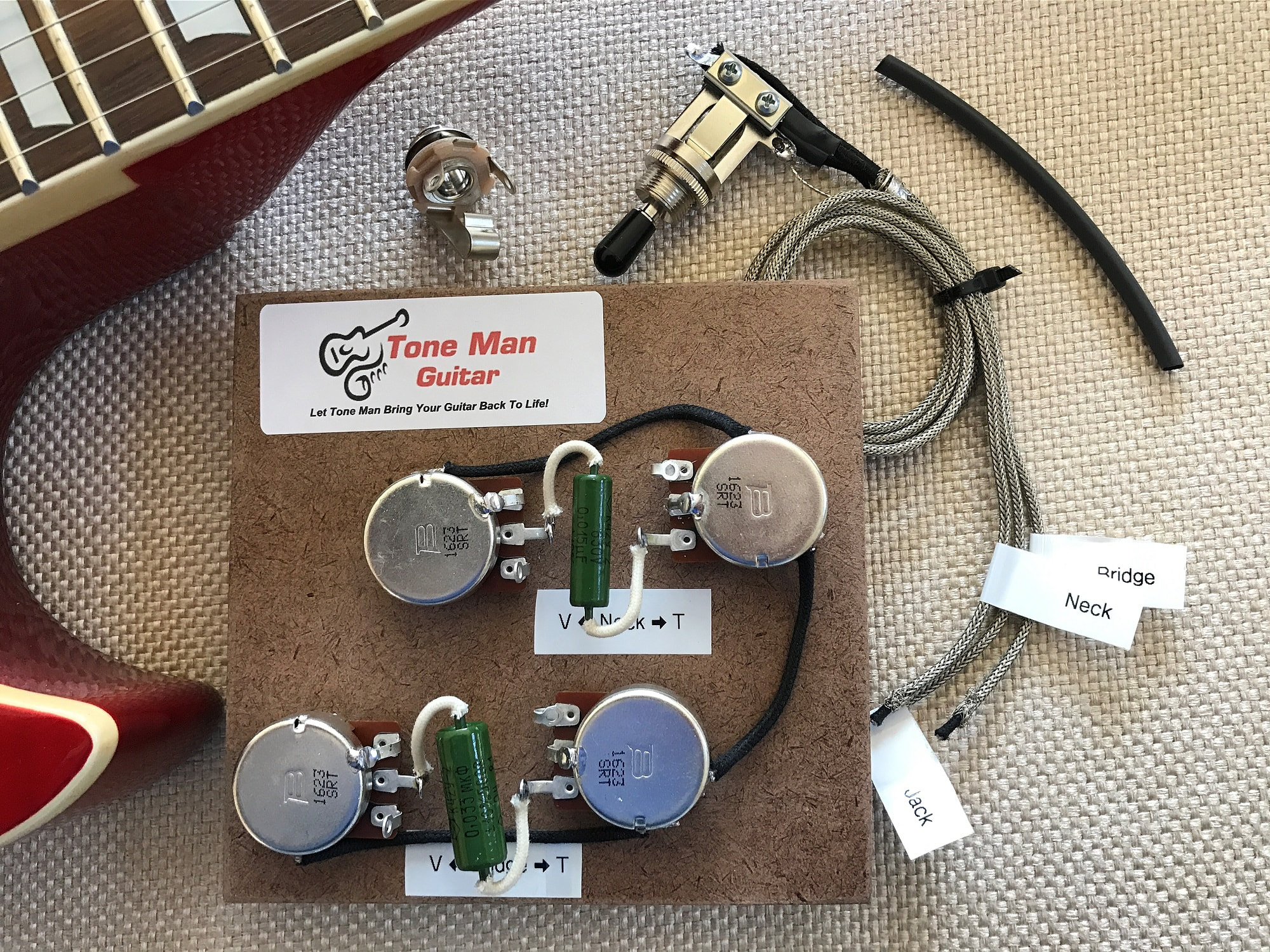 Gibson Les Paul wiring upgrade prebuilt kit PIO Tone Caps